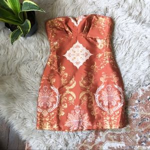 Free People Copper Jacquard Strapless Dress